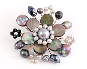 Floral Brooch, Mother of Pearl, Pearl Brooch, Grey Brooch, Wedding Brooch, Elegant Pearl Brooch, Wedding Jewelry