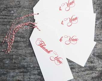 8 Letterpressed Thank You gift tags