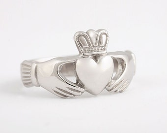 Claddagh Ring - Sterling Silver - Traditional Irish Friendship Ring - Wedding Ring, Engagement Ring - Ready to Ship Size 9 - Promise Ring