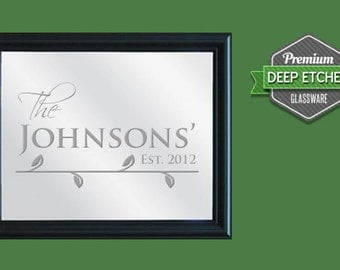 "Family Name Sign, Personalized Mirror, etched with Name and Date design, 23.5"" x 19.5"" with decorative black frame"