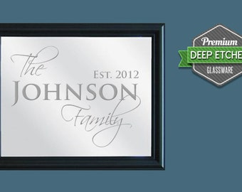 "Family Name Sign, Personalized Mirror, etched with Family design, 23.5"" x 19.5"" with decorative black frame"