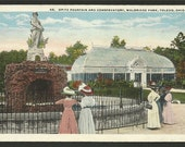 Vintage Postcard - Opitz Fountain and Conservatory, Walbridge Park, Toledo, Ohio  (1180)