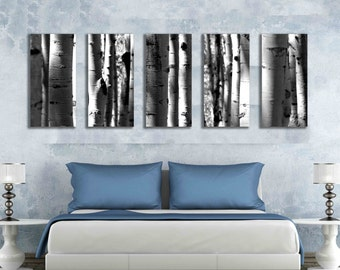 Five multi panel 10x20 inch canvas print black and white aspen tree photograph, 60 wide wall hanging mural panoramic wall art nature artwork