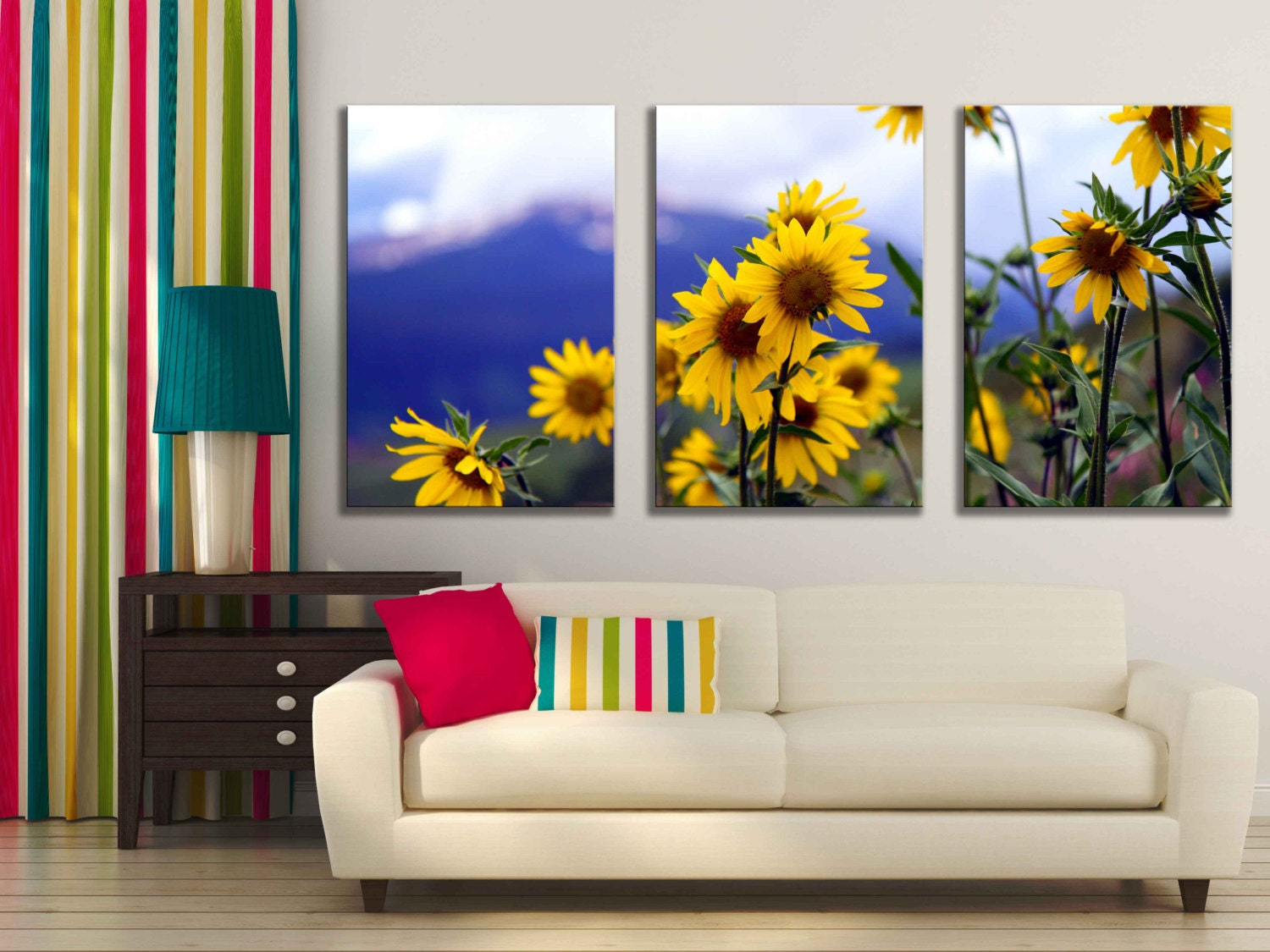 Gallery wrapped canvas sunflower flower nature home decor for Sunflower home decor