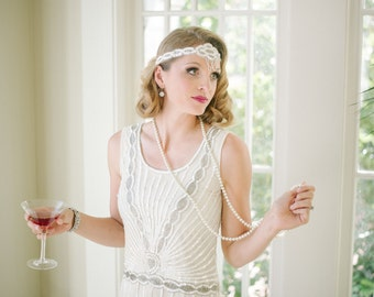 Long Pearl Necklace Great Gatsby Vintage inspired 1920s vibe Robe Charleston Downton Abbey Mod Art Deco New Hand Made