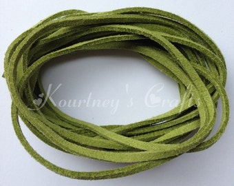 Olive Green Faux Suede Leather Cord Size 3mm 5yards/bundle