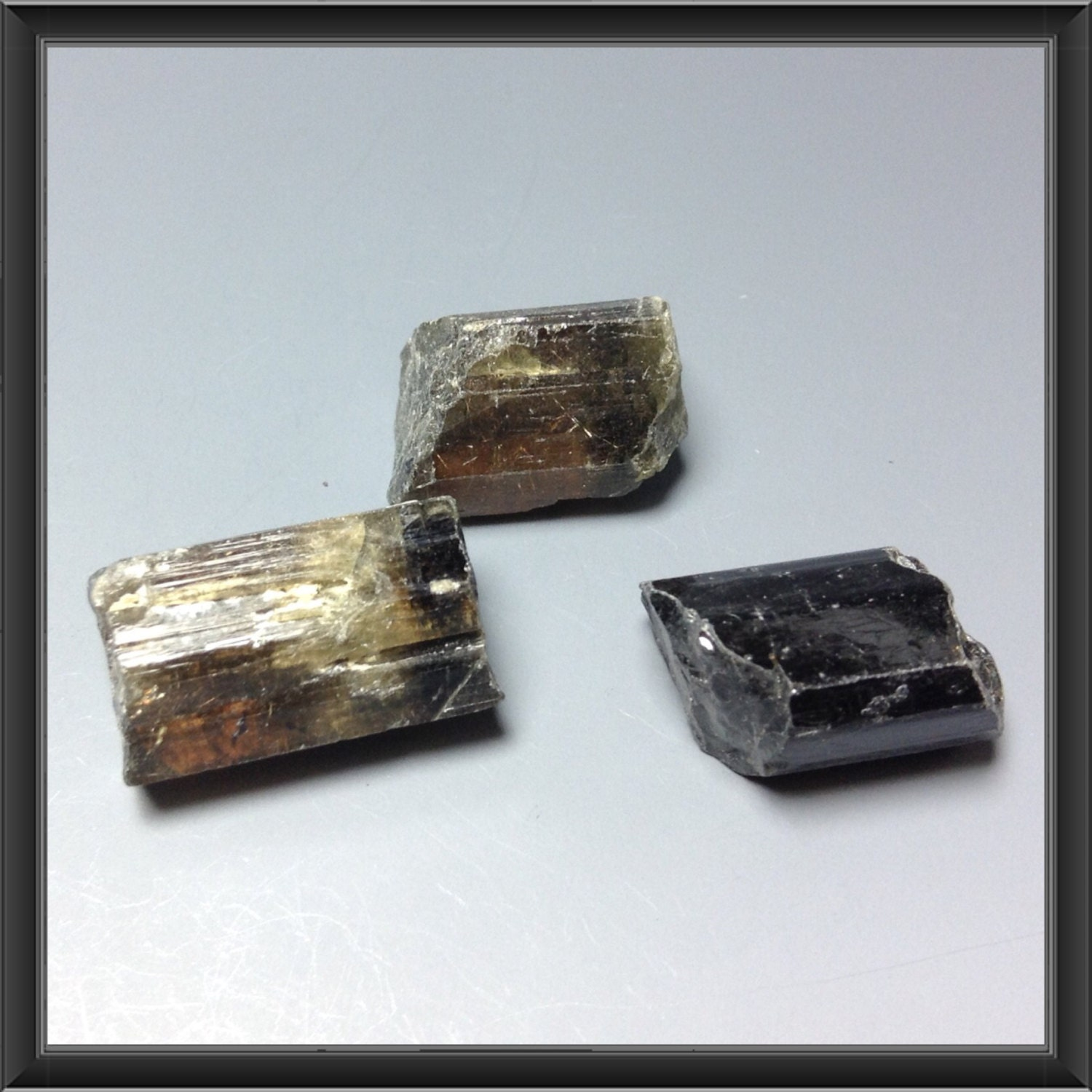 Rough natural black Tourmaline stones from Tanzania 3 stones