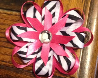 Pink and Zebra Print Hair Bow