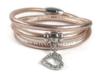 Rose Gold Leather Wrap Bracelet, Womens Leather Bracelet, Leather Jewelry, Triple Wrap Leather Bracelet, Leather Charm Bracelet