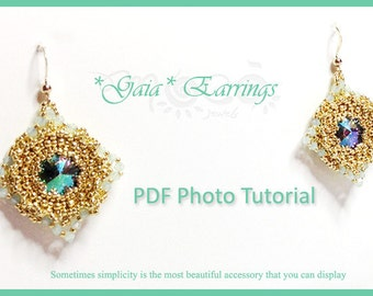 Photo Tutorial  Eng-Ita DIY earrings,*Gaia* earrings,PDF Pattern 46 with rivoli swarovski,swarovski,,seed beads