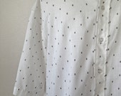 Vintage Mens 1960s White Short Sleeve Shirt With Black Dots Arrow Kent Collection Size 16