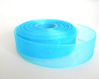Aqua Blue / Turquoise Sheer Organza Ribbon, 5 Yards / 4.5 M