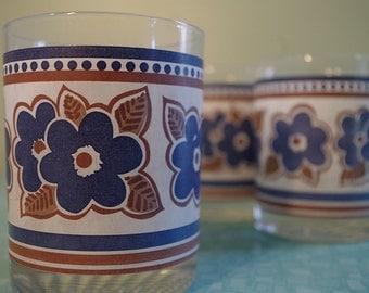 Vintage 60s Mod Flower Drinking Glasses - Set of 3