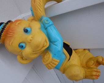 Child's Rubber Squeeze Toy Hanging Monkey Organ Grinder - Hangs on Crib, Dresser, Shelf - 1950's Childs Toy