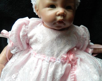 Reborn/Newborn Baby dress+hairband  white lace and pink polycotton/reborn dolls clothes baby homecoming Valentines day