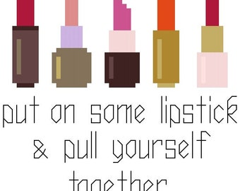 Put On Some Lipstick - Cross Stitch Pattern - Instant Download