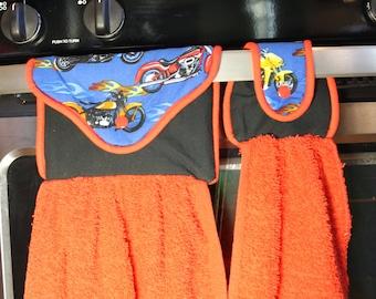 Motorcycle Flames Hanging Hand Towel - Kitchen Towel/Tea Towel/Fingertip Towel - Great Xmas/Housewarming, Bridal Shower Gift!  Gift under 10