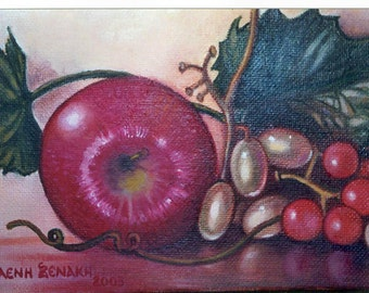 Original Oil Painting by Eleni Xenaki Apples with Grapes