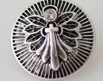 KB8036 Antiqued Silver Angel Holding a Cross