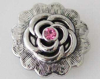 KB5240  Antiqued Silver 3D Flower w Dark Pink Crystal Center