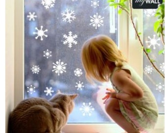 Pack of 39 Vinyl Snowflakes - Christmas Decoration Window Wall Sticker Decals