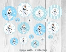 Frozen Olaf Party circles  - Olaf  Kiss stickers - Printable - Frozen birthday party circles - Instant Download - Happy with Printables