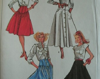 Misses Skirts in Two Lengths Size 10-12-14 Simplicity Pattern 8182 Easy Sew UNCUT Pattern Dated 1987 - Lovely VINTAGE Pattern!
