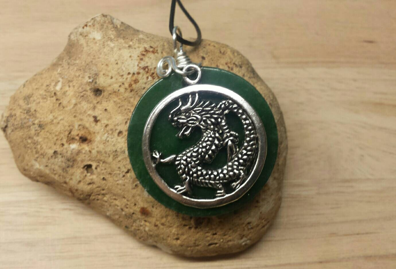 mens necklace green jade pendant by