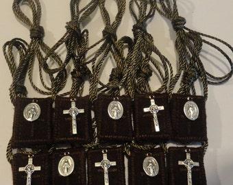10 Brown Wool Catholic Scapulars + St. Benedict Crucifix & Miraculous Medal