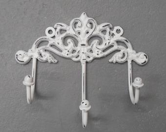 Decorative Wall Hook/Ornate Hook/Multihook/White Hook/Iron Wall Hook/SSLID0130/French Country Decor/Key Hook/Wall hook/Metal hook/Towel hook