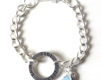 Light Blue Prostate Cancer Hope Love Cure Awareness Bracelet YOU Choose Bracelet Length
