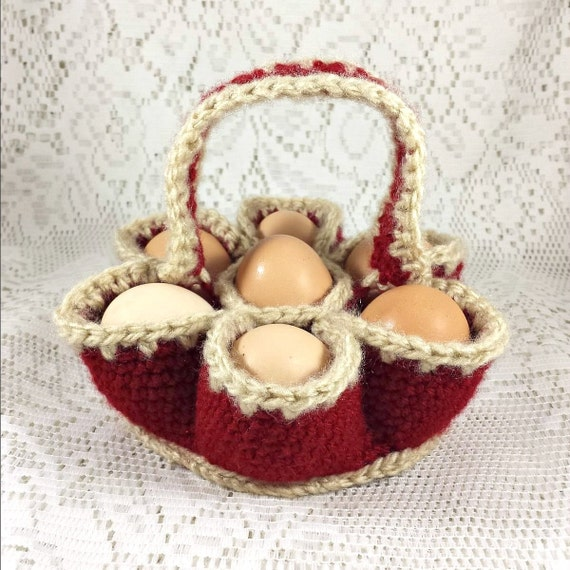 Jr. Crochet Egg Carrying Basket, Egg Caddy, Egg Carton, Egg Collecting ...