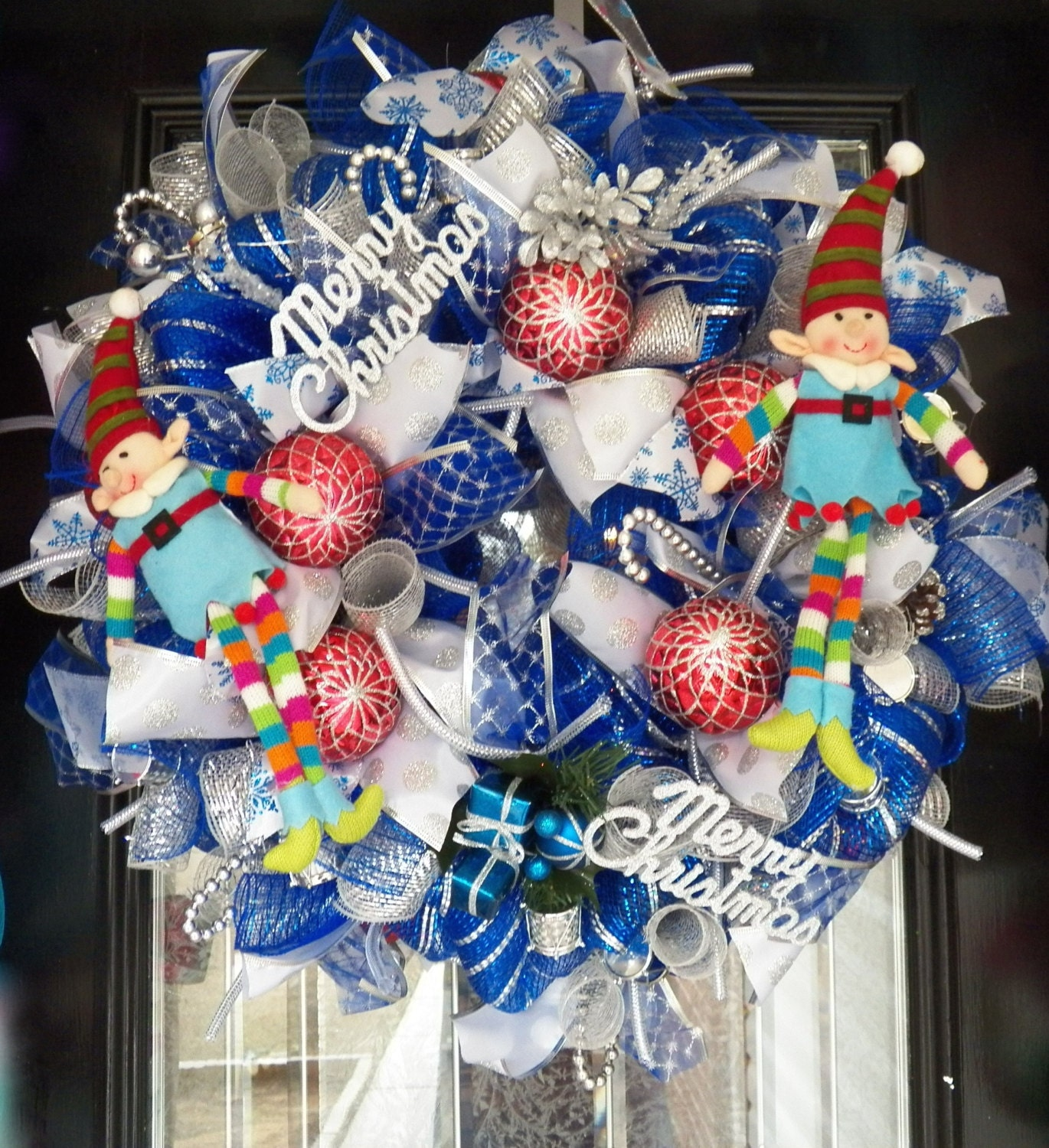 Silver and Blue Deco Christmas Wreath, Holiday Wreath, Christmas Decoration, Fast Shipping