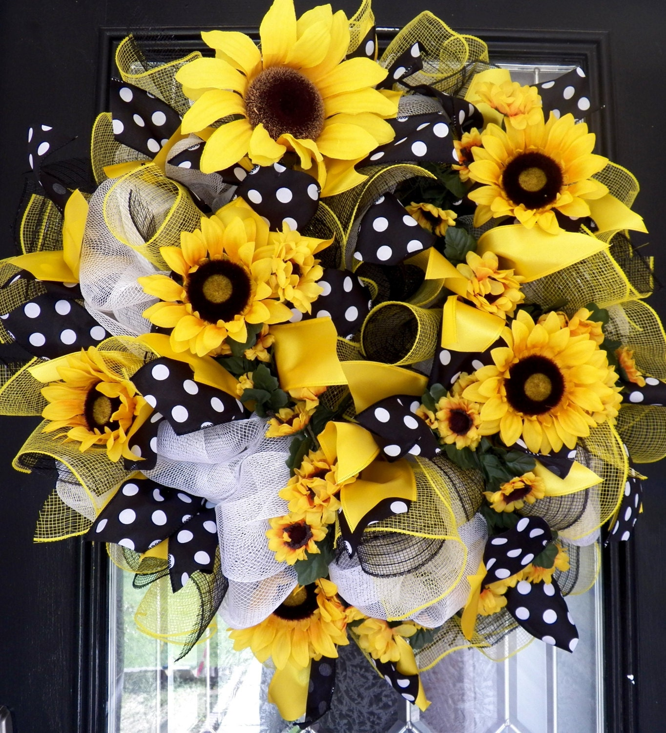 Xl Deco Mesh Sunflower Wreath Summer Wreath Spring Wreath