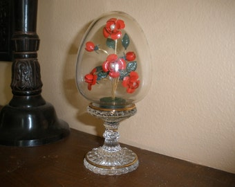 Franklin Mint Faberge Crystal Egg Russian Imperial Red Rose Pearl Gold Metal Flower
