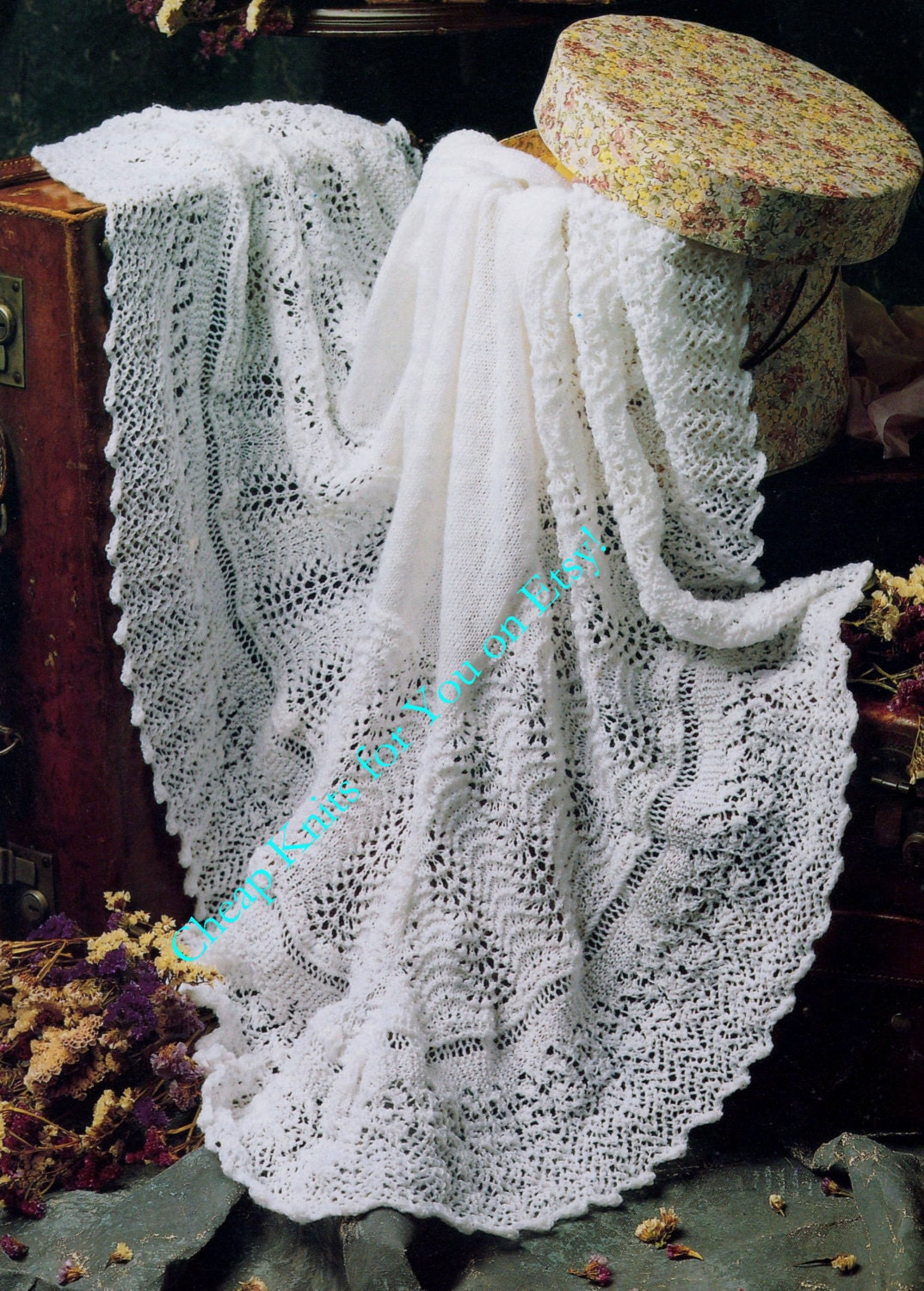 Knitting Patterns For Christening Shawls : Baby Christening Shawl Shawl Blanket 48x48 inches in