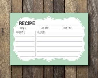 Printable Recipe Card - 4x6 Recipe Card - Mint Kitchen Decor - Recipe Cards - Mint Recipe Card - Mint Green - Bridal Shower Printables