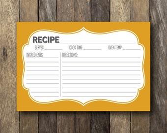 Mustard Yellow Recipe Card - Printable Recipe Cards - Instant Download - Mustard Yellow - Rustic Recipe Card - Mustard Kitchen Decor