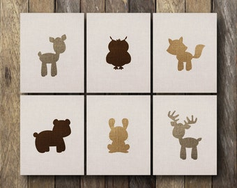 Baby Woodland Animals - Instant Download Nursery Art - Woodland Animals Nursery - Baby Animals Art - Forest Animal Prints - Woodland Nursery