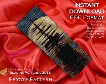 Peyote Pattern Bracelet Cuff Beading Miyuki Delica Size 11 Beads - PDF Download - Moonlight Ship