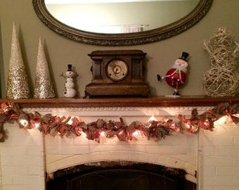 Lighted Primitive Homespun/Burlap Christmas Rag Garland