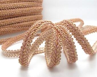 3 Yards 3/8 Inch Dark Pink Glittery Gimp Braided Trim|6 Colors|French Gimp Braided|Scroll Braid Trim|Decorative Embellishment Trim|