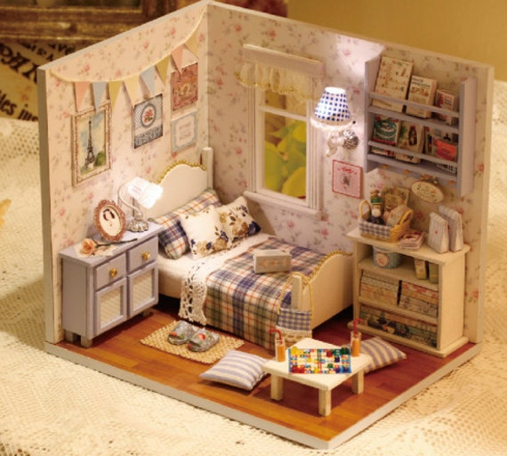 Items similar to light up dollhouse miniature bedroom Miniature room boxes interior design