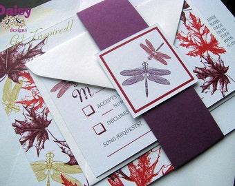 Autumn Dragonfly Wedding Invitation suite