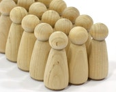 """20 Peg Dolls-Girls or Sisters (2"""")-Solid Unfinished Natural Hardwood Quality Turnings-Ready for Paint or Stain-Craft Parts-Waldorf People"""