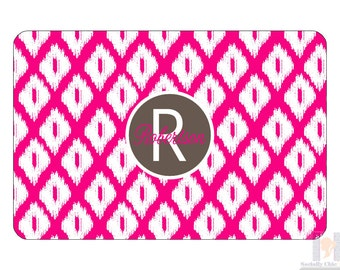 Monogram pink and brown ikat serving tray. A unique and stylish hostess or birthday gift! Choose your colors! Entertain with style!