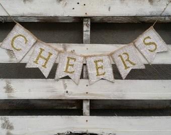 Cheers Burlap Banner,  New Years Eve Decor, New Years Photo Prop, New Years Eve Wedding Decor, Gold Glitter Burlap Banner