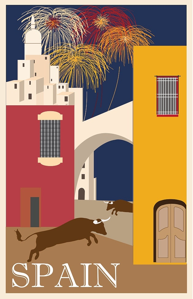 Vintage art deco spain travel poster ad giclee by - Art deco espana ...