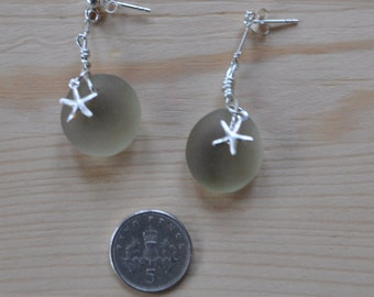Sterling Silver Pair Of Dangly Drop Beach Sea Glass Earrings Made With Seaham Multi Seaglass Eggs - Brown Grey Shades & Starfish Charms