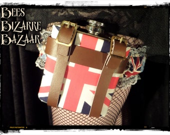 Ladies Leg Garter and Hip Flask 6oz - Union Jack - Wedding Burlesque Steampunk Cosplay